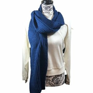 Rebecca Minkoff Scarf Blue Cable Knit Logo New